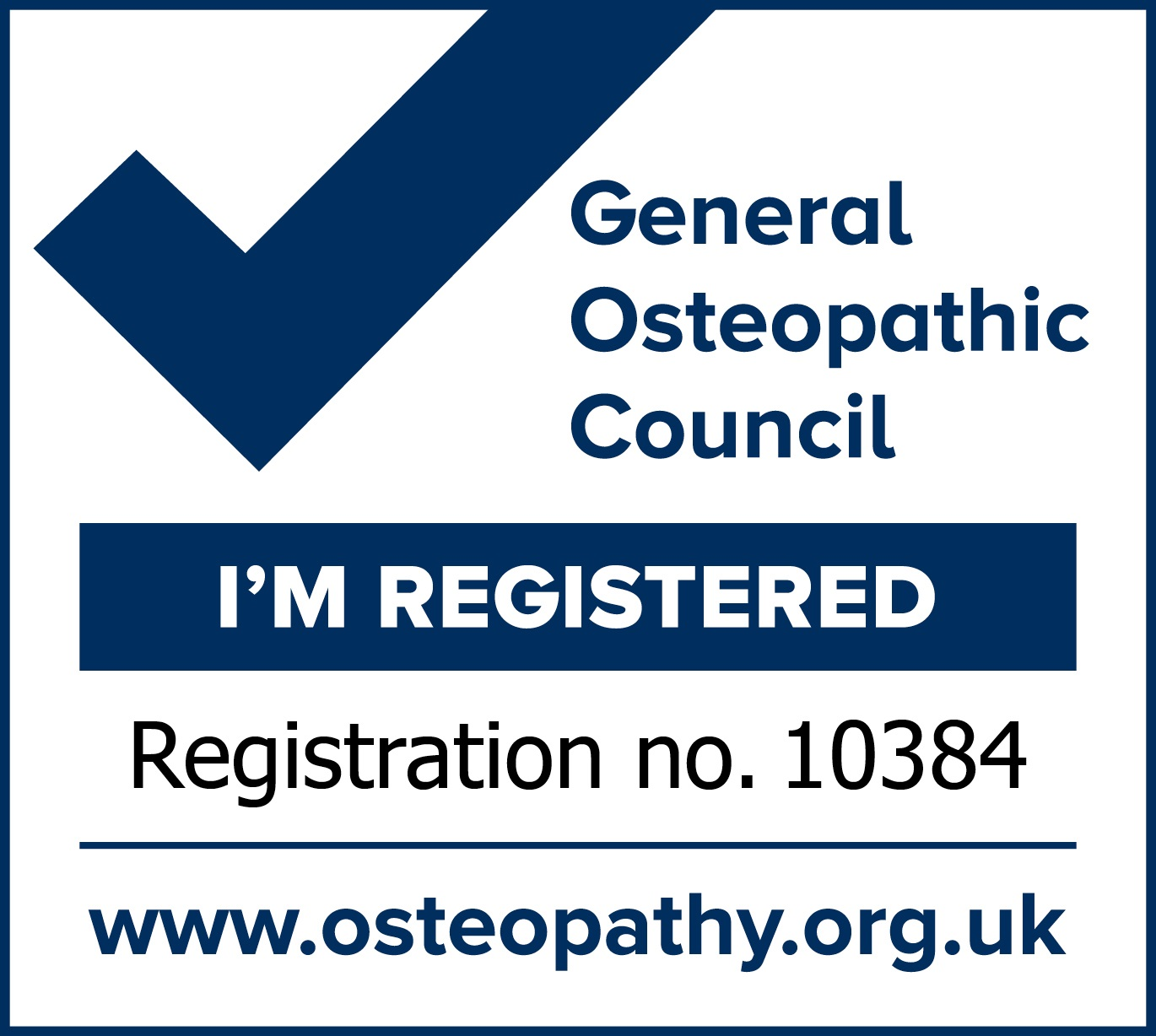 General Osteopathic Council - I'm Registered mark